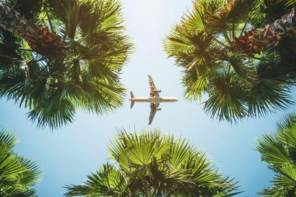Blue sky with a plane
