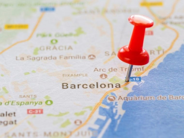 Google map of Spain with a pin next to Barcelona