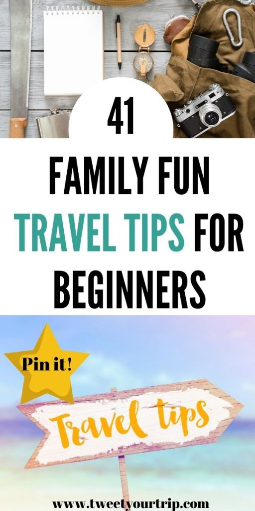 This is a huge list of 41 family fun travel tips for beginners that go through everything from what to pack to keeping the family amused by Laura at TweetYourTrip.com