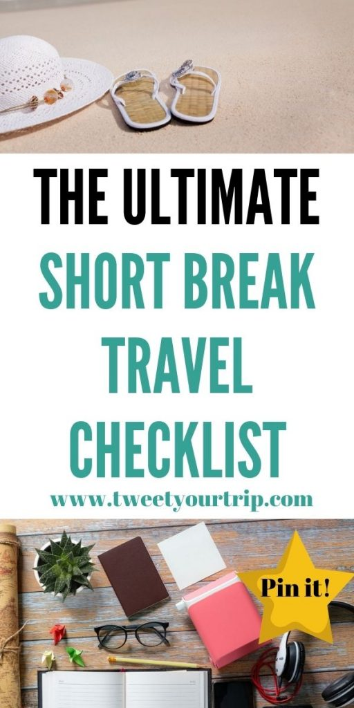 This is the best short break travel checklist that can help you keep track of what to  pack. We've included everything you'll need by Laura at TweetYourTrip.com