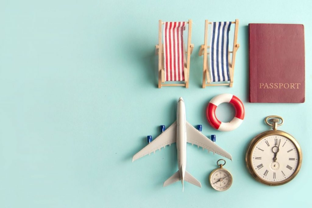 Green background with small airplane and passport